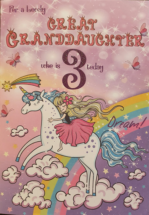 Great Granddaughter 3rd Birthday Card