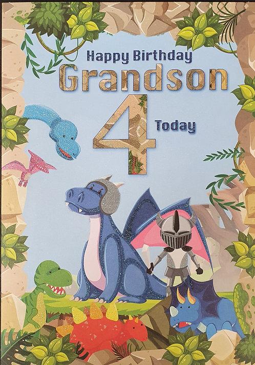 Grandson 4th Birthday Card