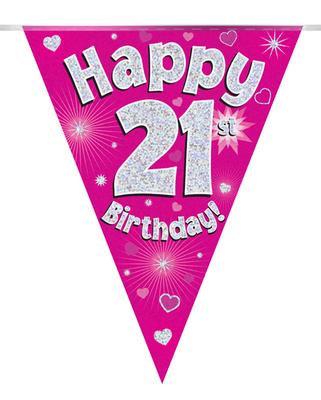 Pink Happy 21st Birthday Bunting