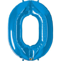 large blue number 0 foil helium balloon