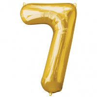 large gold number 7 foil helium balloon