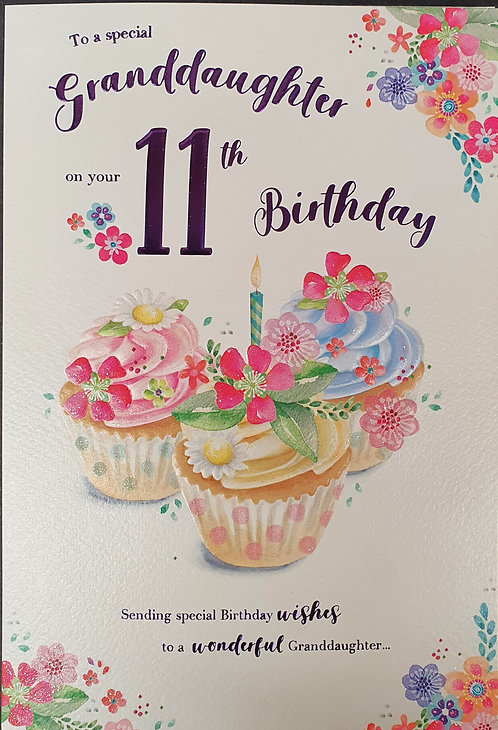 Granddaughter 11th Birthday Greeting Card Front