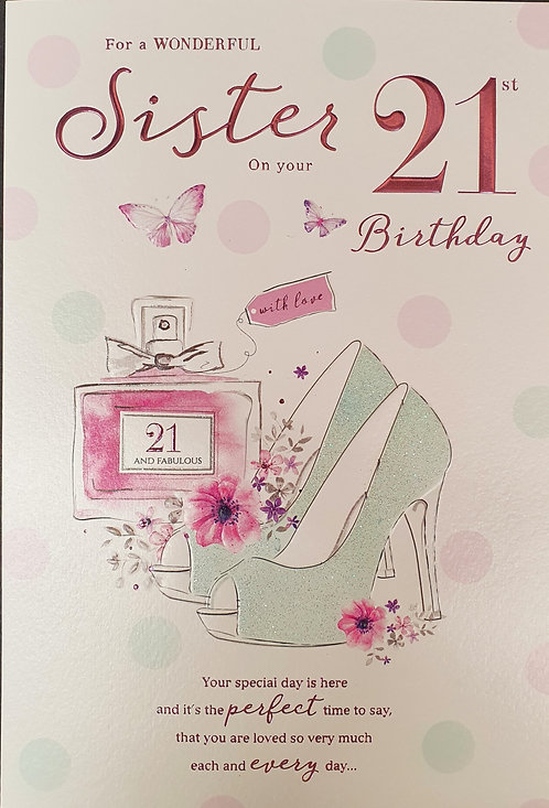 Sister 21st Birthday Greeting Card Front