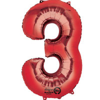 large red number 3 foil helium balloon