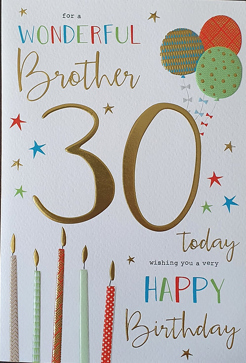 Brother 30th Birthday Card