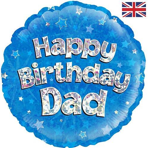 "18"" Blue Happy Birthday Dad Balloon - Helium Filled"