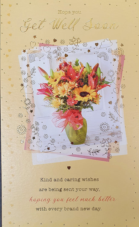 Get Well Soon Greeting Card With Flowers