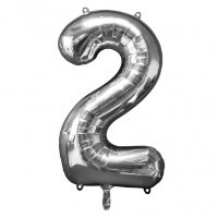 large silver number 2 foil helium balloon
