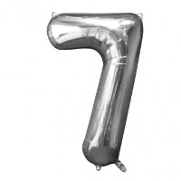 large silver number 7 foil helium balloon