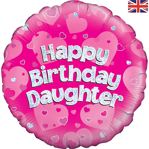 "18"" Pink Happy Birthday Daughter Balloon - Helium Filled"