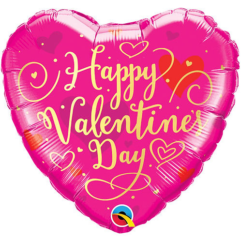 "18"" Valentine's Day Gold Script Heart Balloon - Helium Filled"