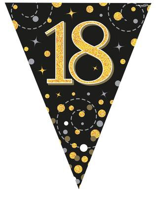 Party Bunting 18th Birthday Black & Gold Holographic