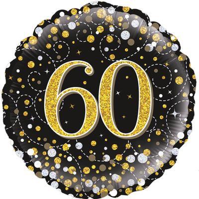 "18"" Black & Gold 60th Birthday Balloon - Helium Filled"