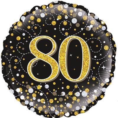 "18"" Black & Gold 80th Birthday Balloon - Helium Filled"
