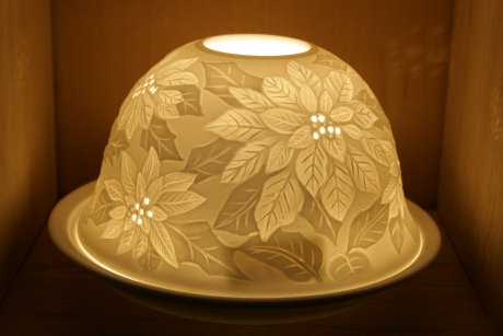 Nordic Light Candle Shade With Christmas Flowers Poinsettia