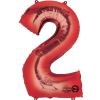 large red number 2 foil helium balloon
