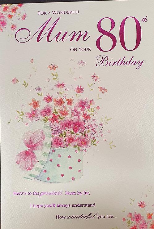 Mum 80th Birthday Greeting Card