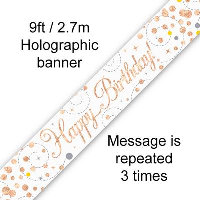 9ft Banner Happy Birthday White & Rose Gold Holographic
