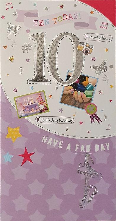 10th Female Birthday Card