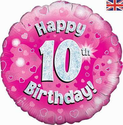 "18"" Pink 10th Birthday Balloon - Helium Filled"