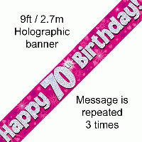 Pink 70th Happy Birthday Party Banner