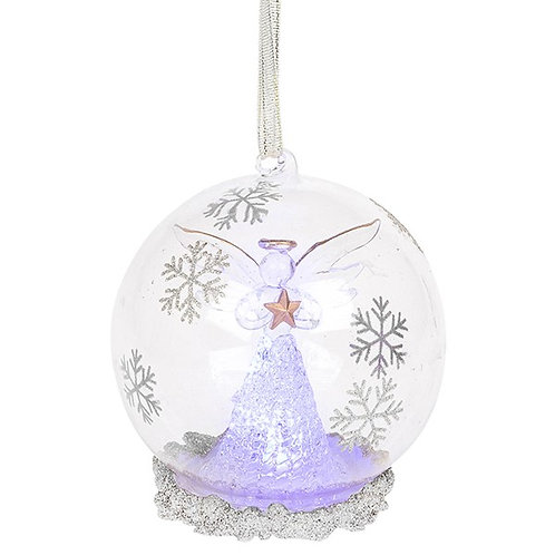 Glass Art LED Bauble - Silver Angel (Large)