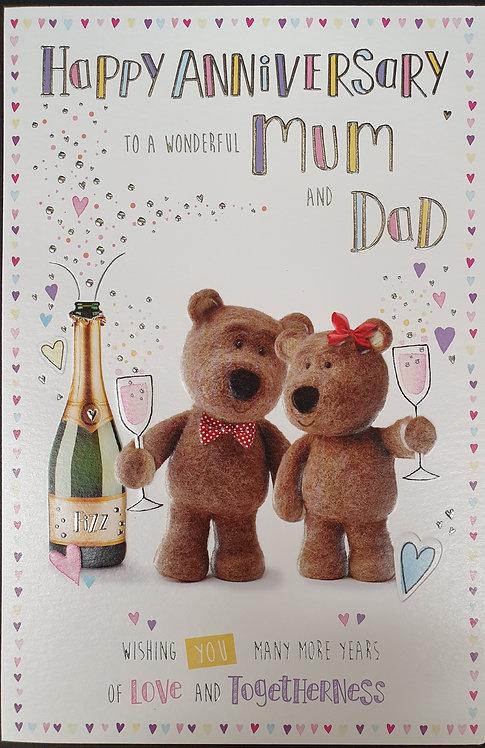 Mum And Dad Anniversary Greeting Card Barley Bear