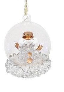 Glass Art LED Bauble - Snowman (Medium)