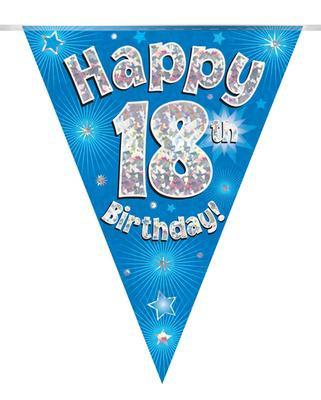 Blue Happy 18th Birthday Bunting