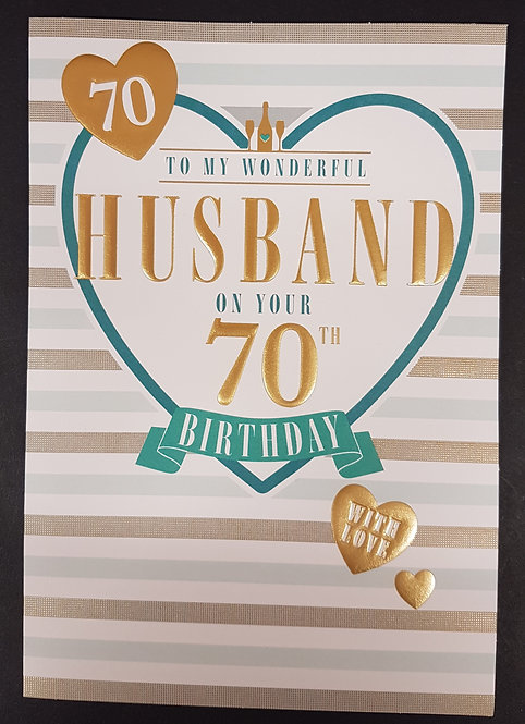 Husband 70th Birthday Card