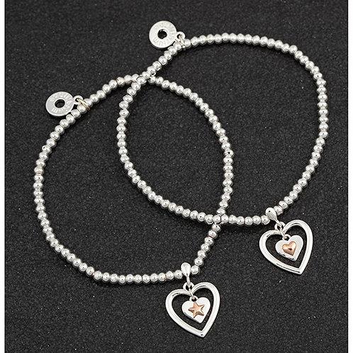 Equilibrium Polished Two Tone Charm Bracelet