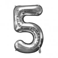 large silver number 5 foil helium balloon