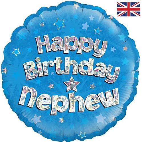 "18"" Blue Happy Birthday Nephew Balloon - Helium Filled"