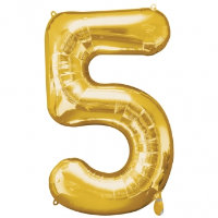 large gold number 5 foil helium balloon