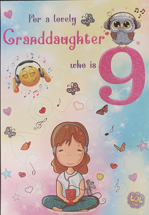 Granddaughter 9th Birthday Greeting Card Front