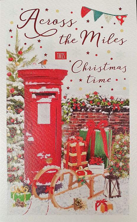 Across The Miles Christmas Greeting Card With Post Box