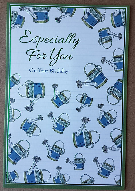 Male Birthday Greeting Card - Watering Cans