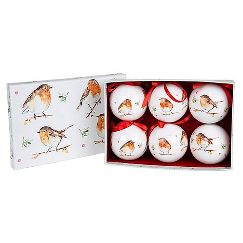 Winter Robins Christmas Baubles - Set of 6