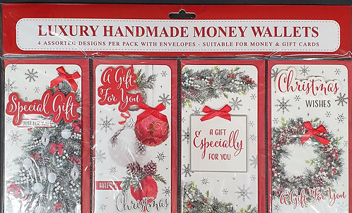 Christmas Money Wallet Pack of 4 - Traditional