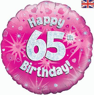 "18"" Pink 65th Birthday Balloon - Helium Filled"