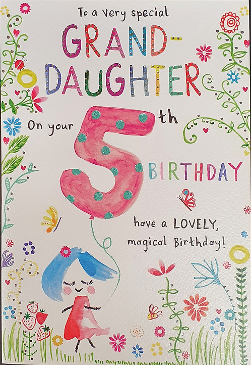 Granddaughter 5th Birthday Greeting Card