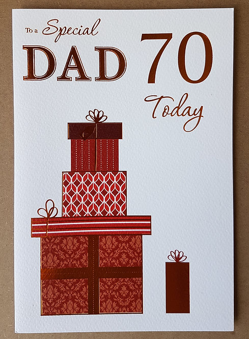 Dad 70th Birthday Greeting Card With Presents