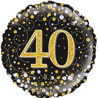 "18"" Black & Gold 40th Birthday Balloon - Helium Filled"
