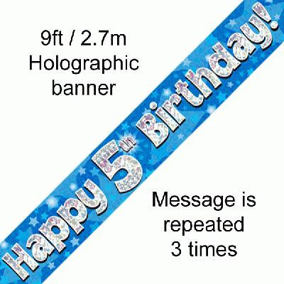 Blue 5th Happy Birthday Party Banner