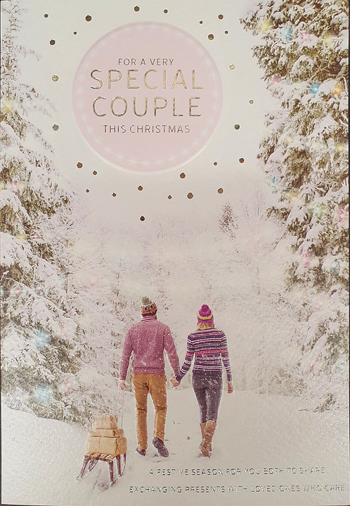 Special Couple Christmas Greeting Card Snow Scene