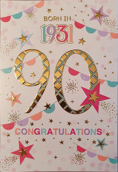 Born in 1931 - Female Age 90 Tri-Fold Birthday Greeting Card