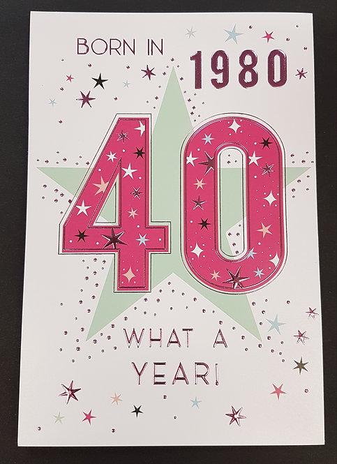 Born in 1980 - Female Age 40 Tri-Fold Card