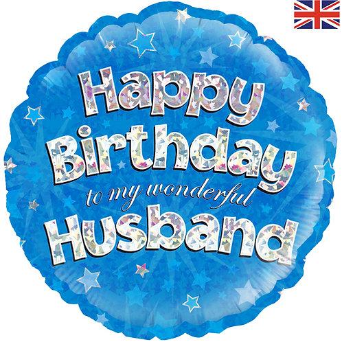 "18"" Blue Happy Birthday Husband Balloon - Helium Filled"