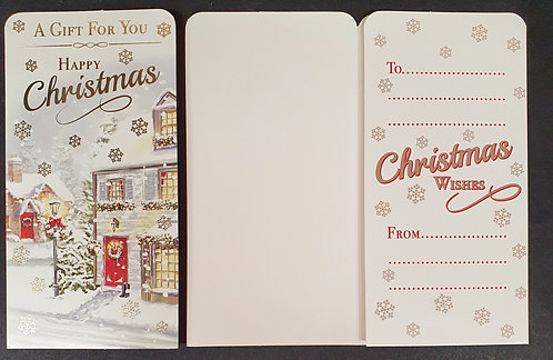 Christmas Money Wallet Front Door and Street Lamp