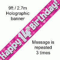 Pink 14th Happy Birthday Party Banner